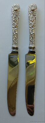 """Two S Kirk & Son Repousse .925 Sterling Silver 2 Knives 9"""" No Monogram"""