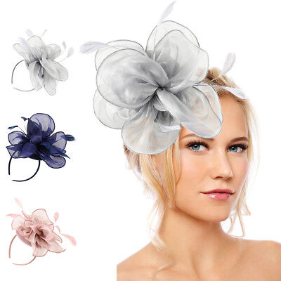 Women Flower Fascinator Hat Feathers Headband Lady's Day Party Banquet Clips