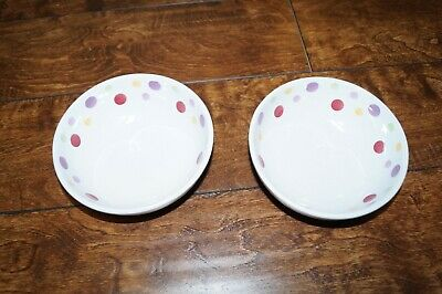 "Set Of 2 Pampered Chef Simple Additions Polka Dot 6"" Cereal/Soup Bowls"