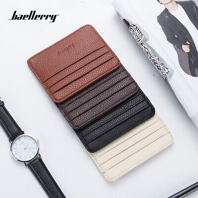 New Minimalist Leather Slim Credit Card Holder Pocket Wallets for Men & Women