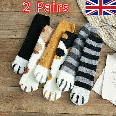 2Pairs Winter Cat Claws Cute Thick Warm Sleep Floor Sock Plush Coral Fleece Girl