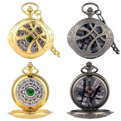Fashion Eye Of Agamotto Doctor Strange Quartz Pocket Watch Chain Cosplay Prop