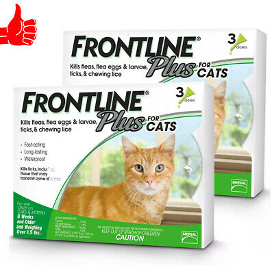 Genuine Frontline Plus For Cats 3 Month Supply Cat Flea & Tick Remedy, 6 doses