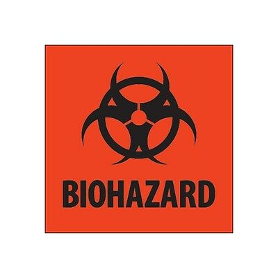 """Tape Logic Labels, """"Biohazard"""", 4"""" x 4"""", Fluorescent Red, 500/Roll"""