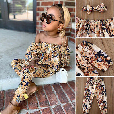 US Toddler Kids Baby Girl Floral Off Shoulder Tops Pants Leggings Outfit Clothes