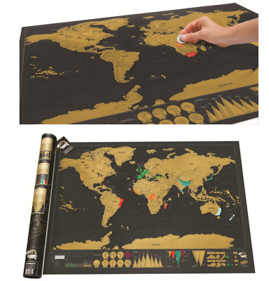 Extra Large Scratch Off World Map 82cmX59cm Detailed with Cities Capitals States