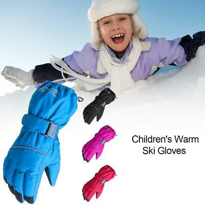 Children's Outdoor Riding Ski Gloves 5 Fingers Solid Color Windproof Winter Warm