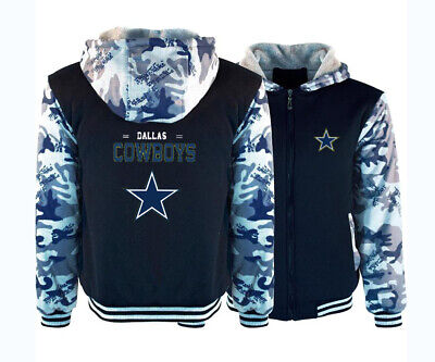 Dallas Cowboys Hoodie Winter Fleece Coat Thicken Warm Jacket Zip Up Sweatshirt