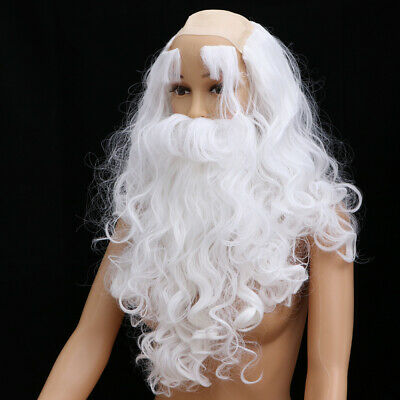 Father Christmas Santa Claus White Wig & Beard Adult Fancy Dress Costume Hair UK