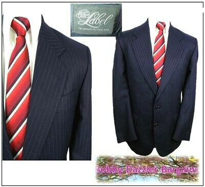 "The Label 2 piece mens suit Ch40""R W34"" L30"" Navy Pinstripe Pure Wool"