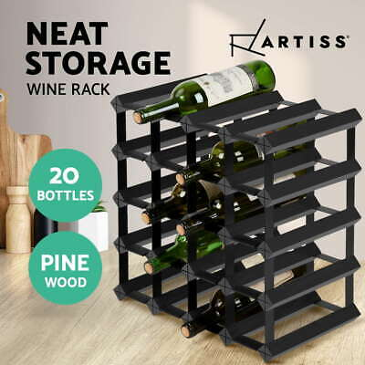 【20%OFF$47.9】 20 Bottle Timber Wine Rack Wooden Storage Wall Racks Holders Black