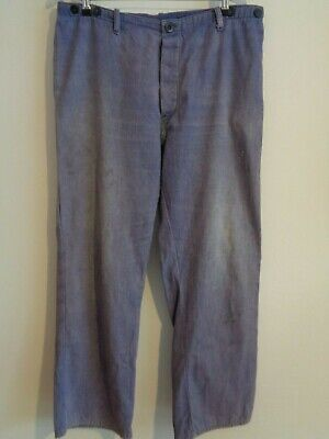 Vtg French indigo sun faded cotton work cinch hobo trousers worker chore pants