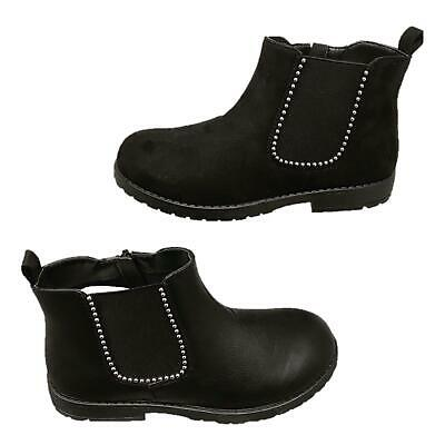 Girls Child Kids Boys Block Heel Zip Up Studded Chelsea Ankle Boots Shoes
