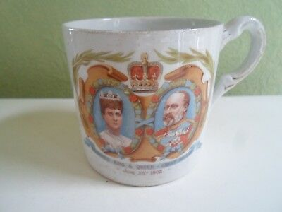 Antique Coronation Mug  King Edward VII & Queen Alexandra 26th June 1902