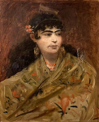 Fine Late 19Th Century French Impressionist Oil - Portrait Of Arlesienne Lady