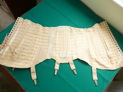 Vintage pink lace up & boned corset  from 1940s/50s approx UK14/16