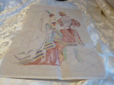 Medival Picture Of Lady And Man Hand Drawn Tapestry Canvas