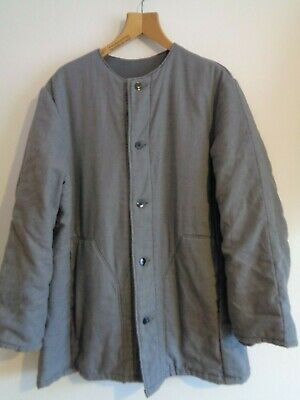 Vtg French collarless grey cotton quilted liner style work chore coat jacket