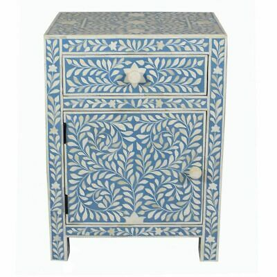 Blue Bone Inlay Bedside Table Nightstand Side Table