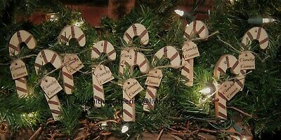 = 10 Primitive Wood Christmas CANDY Cane CANES Tag Sign Ornament Ornies Tuck