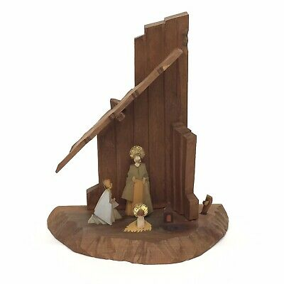 Oberammergau 1940s Wood Hand Carved Nativity Scene Holy Family US Zone Germany