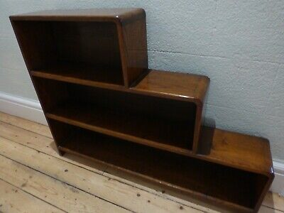 GORGEOUS VINTAGE SMALL OAK 1930 / 1940's ART DECO STEP BOOKCASE BOOK SHELVES VGC
