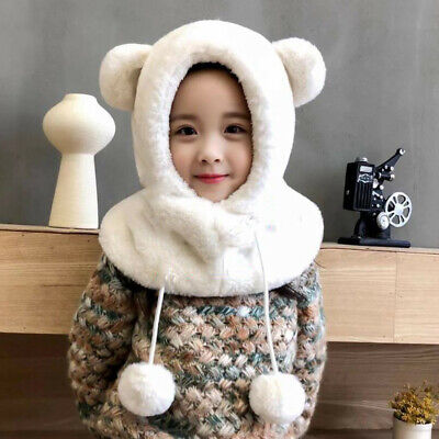 Toddler Kids Baby Girl Boy Cute Bear Scarf Winter Thick Earflaps Beanie Cap Hat