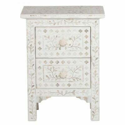 Indian Handmade Antique 2 Drawers Mother Of Pearl Side Table Bedside Table