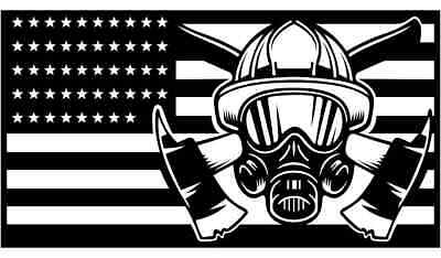 USA Firefighter Flag  DXF of PLASMA Laser Cut - CNC Vector DXF-CDR - AI Art file