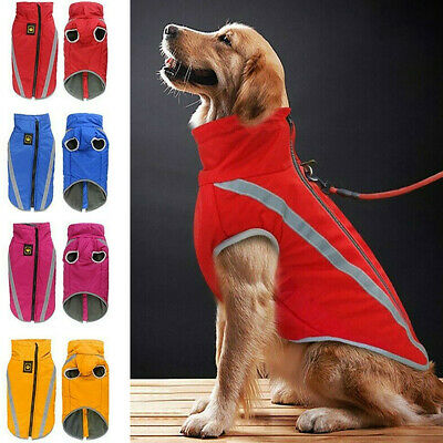 Waterproof Dog Coat Clothes Warm Winter Padded Fleece Pet Vest Jacket Zip Up