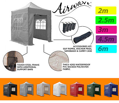 Pop Up Gazebo Airwave® waterproof outdoor patio heavy duty 2m, 2.5m, 3m, 4.5m 6m