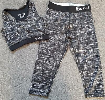 Girls Usa Pro Active Sportswear Outfit, Leggings & Vest Top,  7-8 Yrs 128Cm