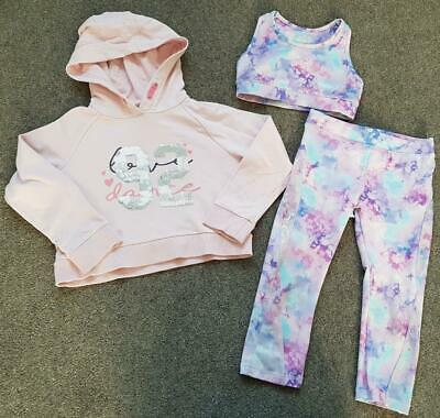 Girls F&F, 3 Piece Active Sports Outfit, Leggings, Hoody And Vest Top, 5-6 Yrs