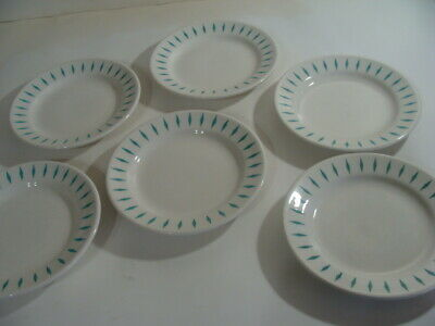 6 Homer Laughlin Best China Restaurant Ware Plates Diamond Turquoise Atomic