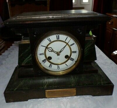 Antique JUNGHANS Faux Slate/Marble (Wood) Cased Mantel Clock, Spares/Repair
