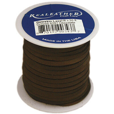 """Realeather Crafts Deerskin Lace .125""""X50' Spool-Chocolate"""
