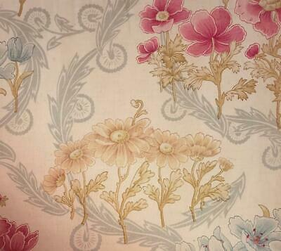 BEAUTIFUL PIECE LATE 19th CENTURY FRENCH FINE LINEN COTTON, POPPIES 368