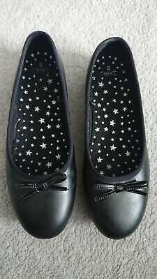 Next Black Smart Leather Girls School Shoes Sz 5 Worn Once
