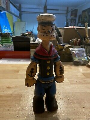 Popeye Cast Iron Piggy Bank Toy Antique Style Solid Cast Iron Metal vg Patina