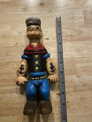 "Popeye Cast Iron Piggy Bank Toy Vintage Antique Style Patina Paint Finish 9"" ex"
