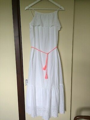 M&S Marks Girls Maxi Dress Worn Once Beautiful Age 13 14 15 16 White Fully Lined