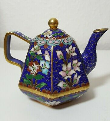 Miniature Blue Chinese Cloisonne enamelled Teapot decorated with flowers