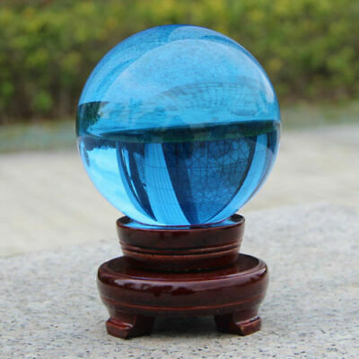 Blue Crystal Photography Lens Ball Photo Prop Background Quartz Ball Home Decor