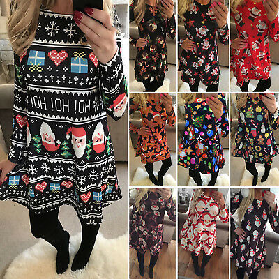 Womens Christmas Snowman Elf Bear Reindeer Flared Swing Xmas Party Mini Dress