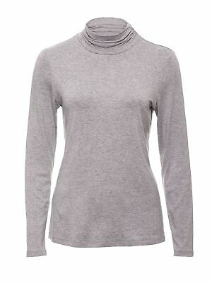 New Women's Silver Marle Ruched Neck Skivvy Silver Marle