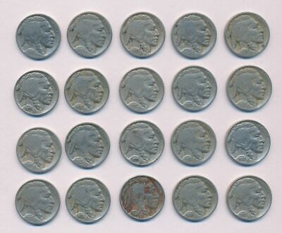 USA 1920-38 5 Cents Buffalo Nickels 20 Coin Collection KM-134 VG-VF