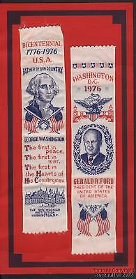1976 Pair of Embroidered Bicentennial Ribbons / Bookmarks