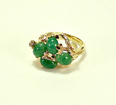 Beautiful Cabochon Cut Green Jade 14k Yellow Gold Nugget Ring Size 6.5 by Scalle