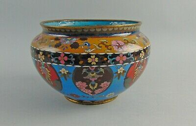 Antique Japanese Gold Dust Cloisonne Large Bowl on Blue Enamel Base