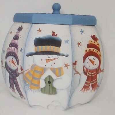"Laurie Speltz tole painting pattern ""Snowman & Gingerbread Puffy Box"""